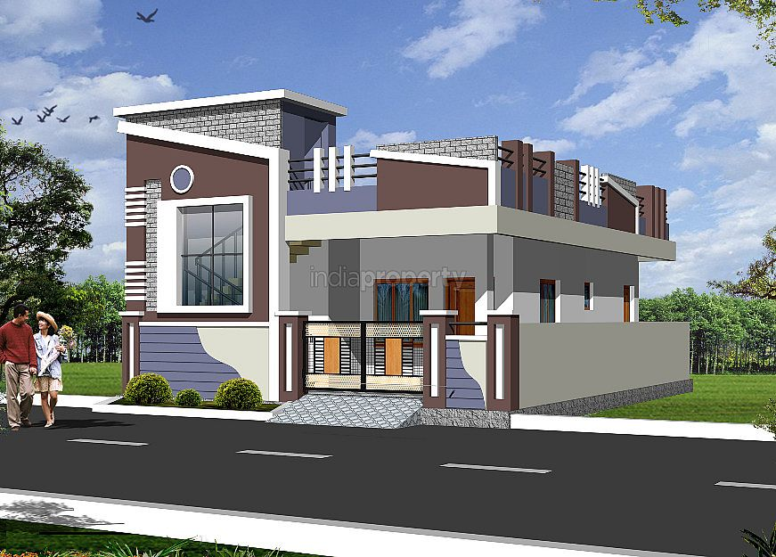 Independent house plans india photos for Single floor house elevations indian style