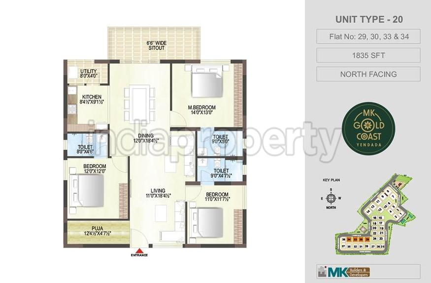 Mk gold coast in yendada vishakhapatnam by mk builders for Floor plans gold coast